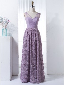 A-Line V-Neck Floor-Length Lavender Bridesmaid Dress with Appliques