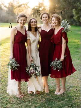 A-Line Spaghetti Straps Tea-Length Burgundy Chiffon Bridesmaid Dress