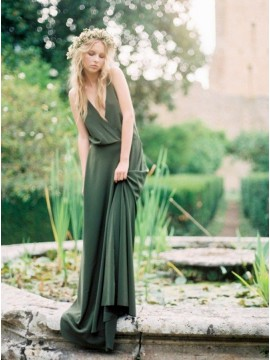 A-Line Spaghetti Straps Backless Sweep Train Dark Green Bridesmaid Dress