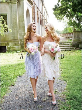 A-Line Sweetheart Backless Knee-Length Lilac Bridesmaid Dress with Ruffles