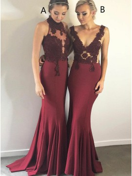 Mermaid High Neck Open Back Burgundy Bridesmaid Dress with Appliques