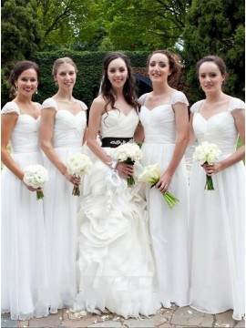 A-Line Square Cap Sleeves Long White Chiffon Bridesmaid Dress