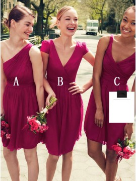 A-Line One-Shoulder Short Fuchsia Chiffon Bridesmaid Dress