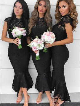 Mermaid Round Neck Cap Sleeves Black Lace Bridesmaid Dress