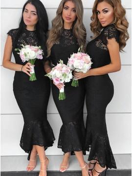 Mermaid Round Neck Cap Sleeves Black Lace Bridesmaid Dress