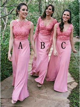 Sheath Bateau Floor-Length Pink Bridesmaid Dress with Appliques