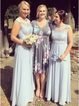 A-Line Round Neck Long Light Blue Chiffon Bridesmaid Dress