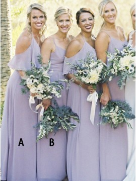 A-Line Halter Cold Shoulder Floor-Length Lilac Bridesmaid Dress