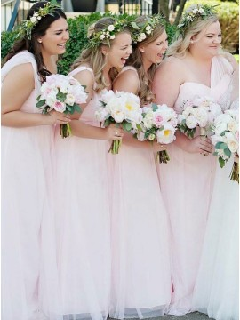 A-Line One-Shoulder Floor-Length Pink Chiffon Bridesmaid Dress