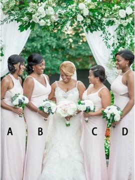 Sheath Round Neck Floor-Length Pearl Pink Bridesmaid Dress