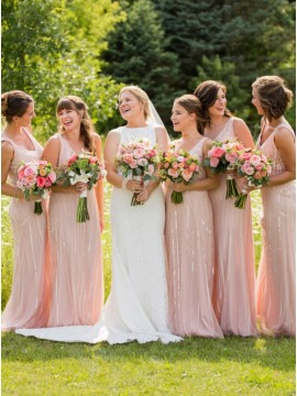 Sheath V-Neck Floor-Length Pink Bridesmaid Dress with Sequins