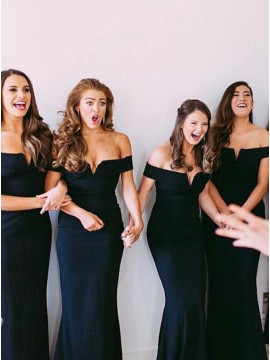 Mermaid Off-the-Shoulder Long Dark Navy Bridesmaid Dress