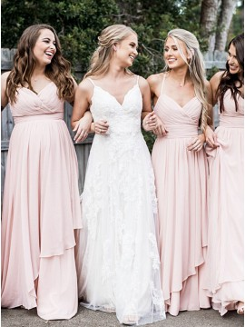 A-Line Spaghetti Straps Long Pearl Pink Chiffon Bridesmaid Dress