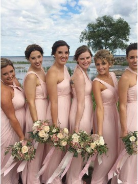 A-Line Halter Floor-Length Pink Convertible Bridesmaid Dress