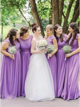 A-Line Round Neck Long Lavender Bridesmaid Dress with Lace