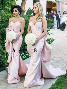 Mermaid Sweetheart Sweep Train Pink Bridesmaid Dress with Ruffles