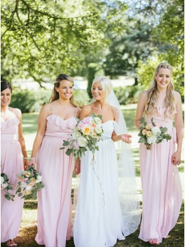 A-Line Spaghetti Straps Floor-Length Pearl Pink Bridesmaid Dress