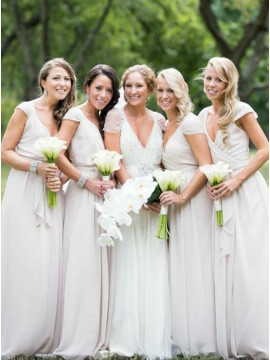 A-Line V-Neck Cap Sleeves White Chiffon Bridesmaid Dress