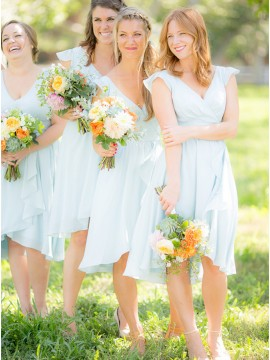 A-Line V-Neck Cap Sleeves Short Chiffon Light Blue Bridesmaid Dress