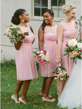 A-Line Round Neck Short Pink Chiffon Bridesmaid Dress