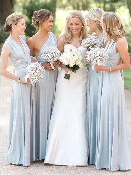A-Line V-Neck Floor-Length Light Blue Convertible Bridesmaid Dress