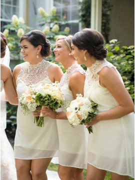Sheath High Neck Short Ivory Bridesmaid Dress with Lace