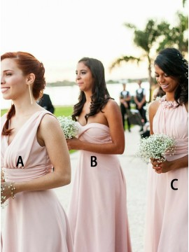 A-Line V-Neck Floor-length Pink Chiffon Bridesmaid Dress