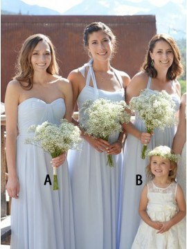 A-Line Sweetheart Floor-Length Light Blue Bridesmaid Dress