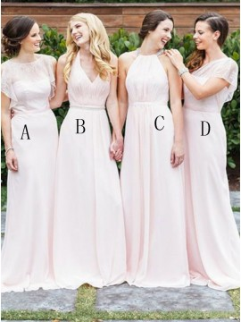 A-Line Crew Floor-Length Pink Chiffon Bridesmaid Dress with Lace
