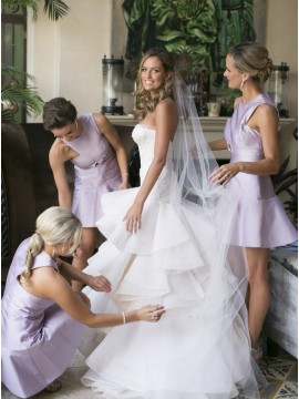 A-Line Round Neck Short Lilac Satin Bridesmaid Dress