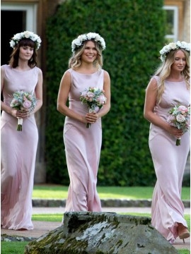 Sheath Bateau Floor-Length Blush Bridesmaid Dress