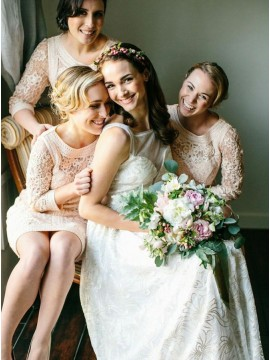 Sheath Round Neck Knee-Length Ivory Lace Bridesmaid Dress