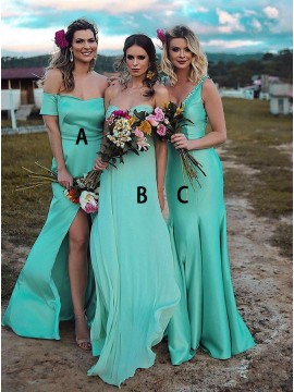 A-Line Off-the-Shoulder Short Sleeves Green Bridesmaid Dress