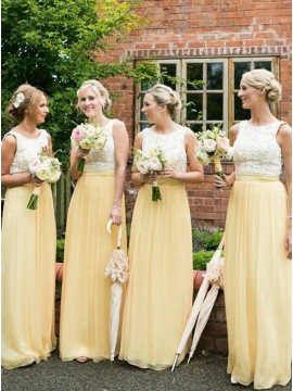 A-Line Round Neck Floor-Length Daffodil Bridesmaid Dress