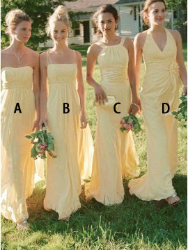 A-Line Sweetheart Long Mismatched Yellow Bridesmaid Dress