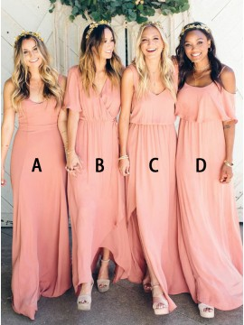 A-Line Spaghetti Straps Floor-Length Coral Bridesmaid Dress