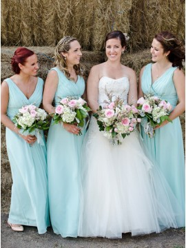 A-Line V-Neck Floor-Length Mint Green Chiffon Bridesmaid Dress