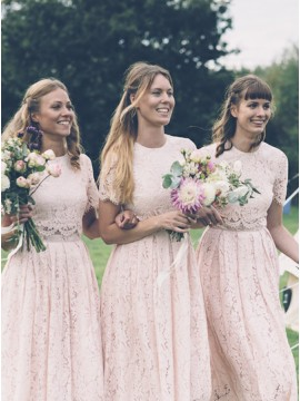 Two Piece Round Neck Short Sleeves Pink Lace Bridesmaid Dress