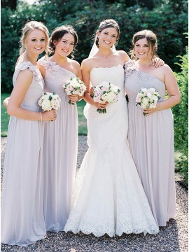 A-Line One-Shoulder Floor-Length Lilac Chiffon Bridesmaid Dress