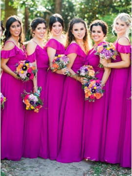 A-Line Spaghetti Straps Cold Shoulder Fuchsia Bridesmaid Dress