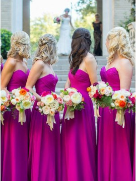 A-Line Sweetheart Floor-Length Fuchsia Bridesmaid Dress