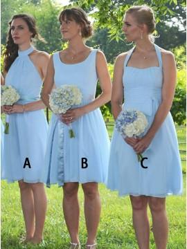 A-Line High Neck Knee-Length Blue Chiffon Bridesmaid Dress