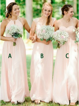 A-Line Jewel Floor-length Pearl Pink Bridesmaid Dress with Keyhole
