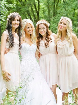A-Line V-Neck Knee-Length Pearl Pink Chiffon Bridesmaid Dress
