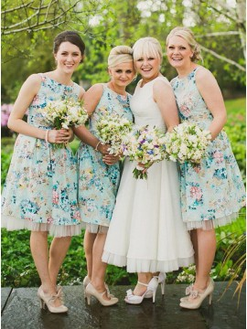 A-Line Bateau Backless Short Printed Satin Bridesmaid Dress
