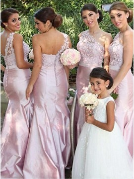 Mermaid One-Shoulder Long Pink Bridesmaid Dress with Lace