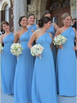 A-Line One-Shoulder Floor-Length Blue Bridesmaid Dress