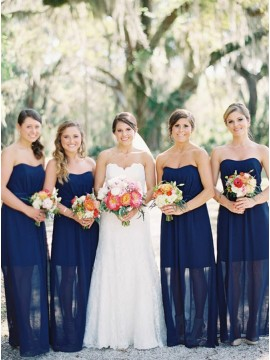 Sheath Sweetheart Floor-length Dark Blue Bridesmaid Dress
