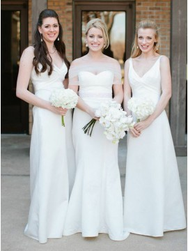A-Line V-Neck White Floor-Length Satin Bridesmaid Dress