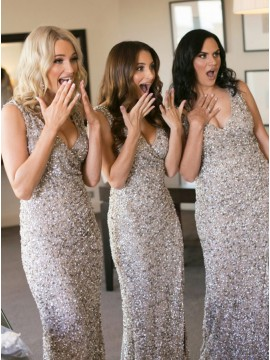 Mermaid V-Neck Floor-Length Sequined Bridesmaid Dress